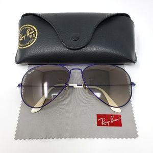 Ray Ban Aviator Purple Metal Frame Sunglasses